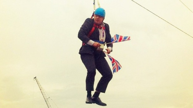 Boris on zip wire