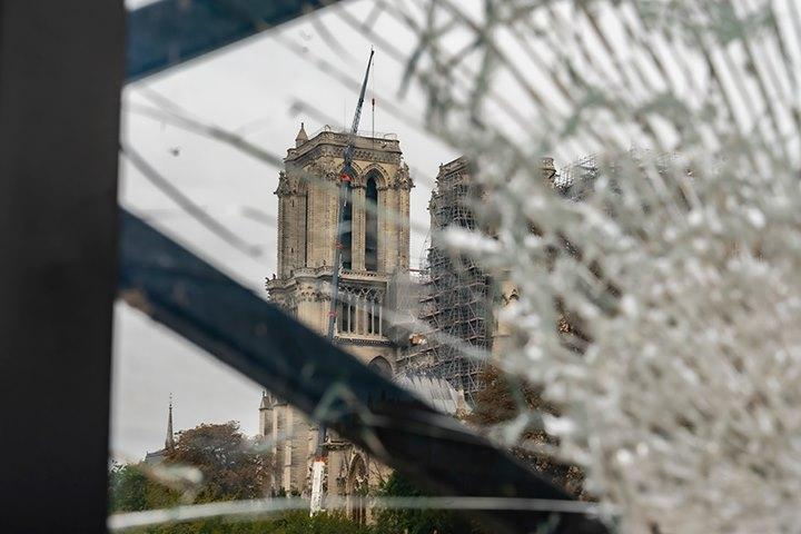 Notre Dame through broken glass