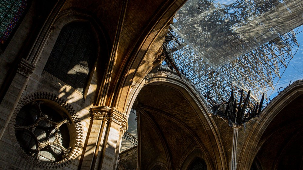 The damaged roof of Notre Dame