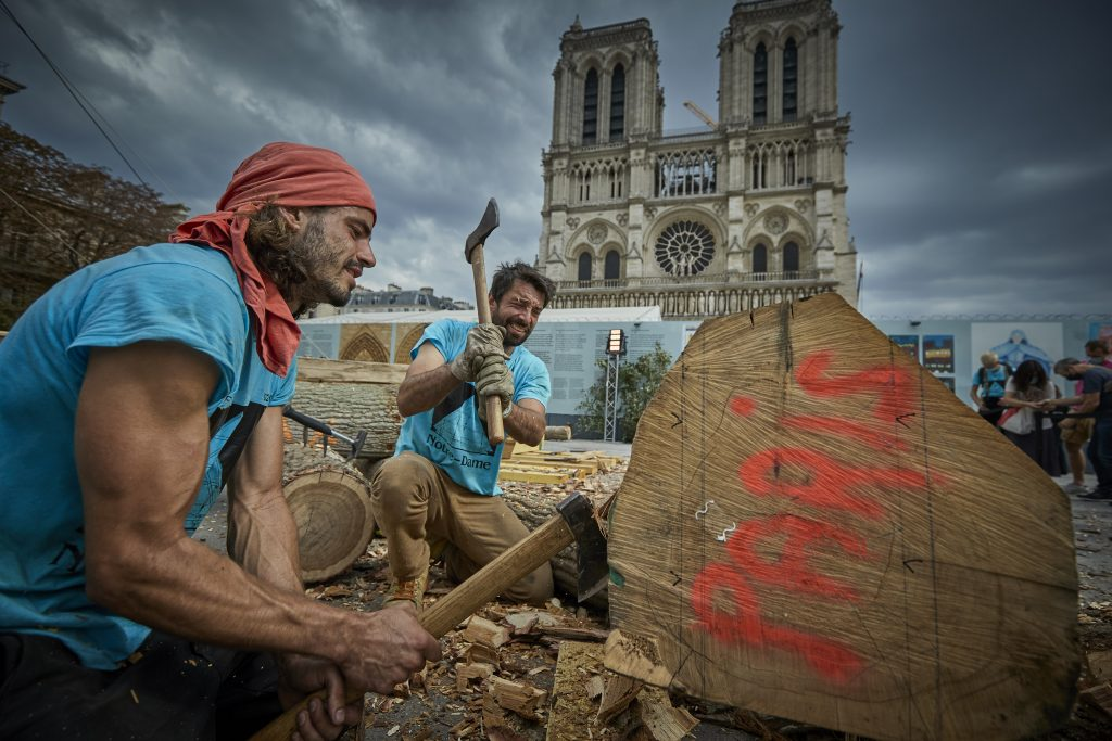 workers outside Notre Dame