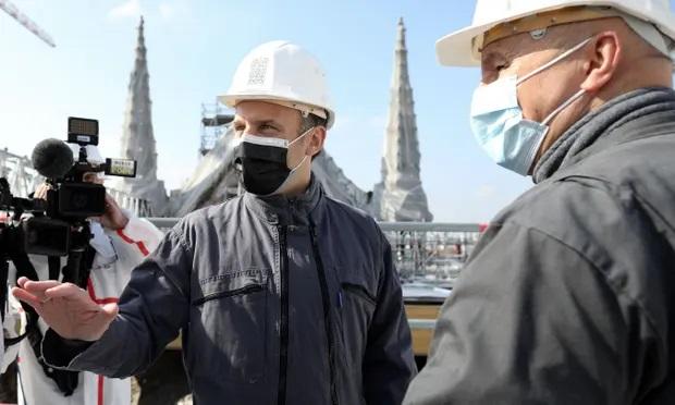 Macron visiting Notre Dame